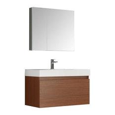 "Mezzo 36"" Teak Wall Hung Modern Bathroom Vanity, Faucet FFT3071CH"