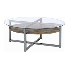 ACME Janette Round Glass Top Coffee Table In Weather Oak Black Nickel