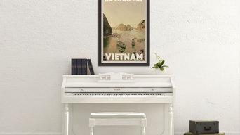 Vintage Travel Poster Ha Long Bay Vietnam
