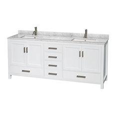 "Sheffield 80"" White Double Vanity, Carrara Marble Top, Um Sq Sinks, No"
