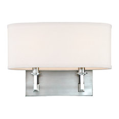 Grayson, Two Light Wall Sconce, Polished Nickel Finish, Faux Silk Shade