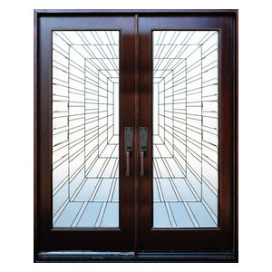 Exterior Front Entry Double Wood Door- Time Tunnel 36X80X2, Right Hand Swing In