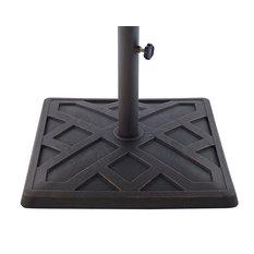 """Delacora WE-BDB30SPR Grid 18"""" Diameter Polyresin Umbrella Base - Antique Bronze"""