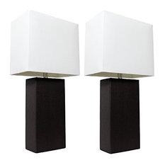 2-Pack Modern Leather Table Lamps With White Fabric Shades, Black