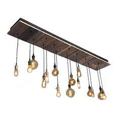 Reclaimed Wood Rustic Light Fixture, Led Bulbs, Suspended