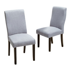 GDFStudio   Heath Fabric Dining Chairs, Gray, Set Of 2   Dining Chairs