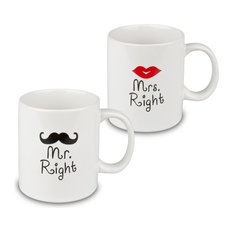 """Mr. Right"" and ""Mrs. Right"" Mugs, Set of 2"