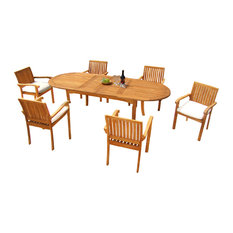 "Teak Deals - 7-Piece Outdoor Teak Dining Set, 94"" Oval Table, 6 Nain Stacking Chairs - Outdoor Dining Sets"