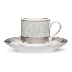 Noritake Odessa Platinum Demitasse Cups & Saucers, Set of 4