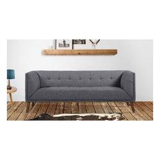 Armen Living Hudson Button-Tufted Fabric Upholstered Sofa In Dark Gray
