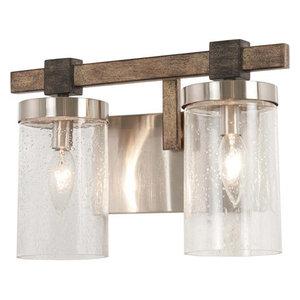 Bridlewood 2 Light Bathroom Vanity Light in Stone Grey With Brushed Nickel