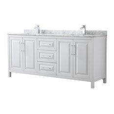"Daria 80"" Double Vanity, White, White Carrara Marble Top, Square Sinks"