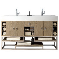 "Tahoe 59"" Double Vanity Champagne Tiger w/ Matte White Solid Surface Top"