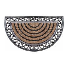 """First Impression Hand-Crafted Elegant Half-Round 18""""x30"""" Rubber Coir Door Mat"""