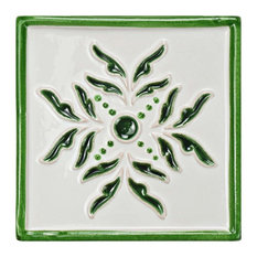 "SomerTile 5.13""x5.13"" Novecento Taco Evoli Ceramic Wall Tile, Case of 3, Verdin"