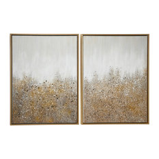 Multimedia White and Gold Abstract Art Paintings With Glitter, 2-Piece Set