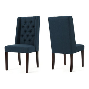 GDF Studio Billings Tufted Fabric High Back Dining Chairs, Navy Blue, Set of 2