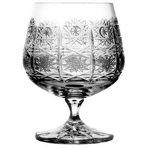 Hobstar Pattern Lead Crystal Cognac Glasses, Set of 6