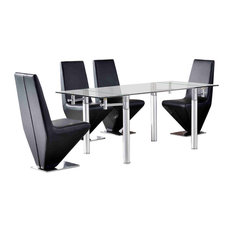 Verona Tempered Glass, Chrome Extending Table, 4 Rita Chairs, 120-180 cm, Black