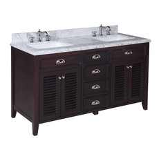 "Savannah 60"" Bathroom Vanity, Base: Chocolate, 60"", Top: Carrara Marble"