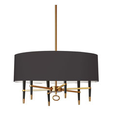 Langford 6-Light Incandescent Vintage Bronze Chandelier, Shade: Black