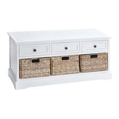 Wood Basket Cabinet, Antique White