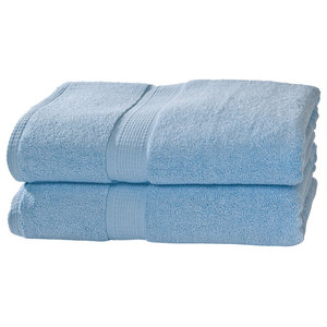 Grower's Collection 100% Pima Cotton Oversized Bath Towels, Set of 2, Sky Blue