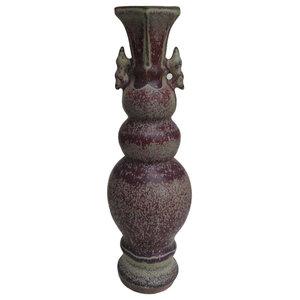 China Purple Porcelain Display Vase Art