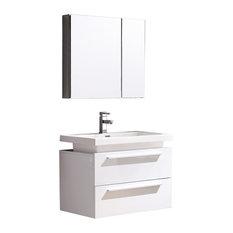 Fresca Medio White Vanity w/ Medicine Cabinet