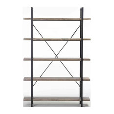 Industrial Bookshelf, MDF and Square Steel Tube Frame, Five Open Shelves