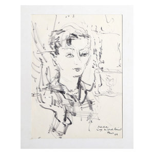 """Dimitrie Berea """"Mme. Michel Geund, 14"""" Marker Drawing"""