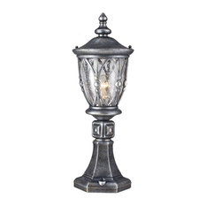 Silver Lantern Outdoor Pedestal Floor Light
