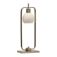 Crosby Table Lamp, Brushed Nickel Finish on Metal Body, Opal Glass Shade