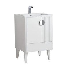 Venezian Bathroom Vanity White 24-inch Polished Chrome Handles Single