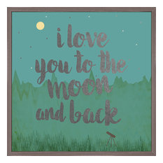 Framed Love You To The Moon, Metallic , Embellished Canvas Wall Art, 15x15