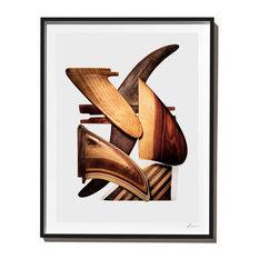 """""""Handmade Wood Fins"""", Surf Art Photograph, Black Frame, 14''x18''"""