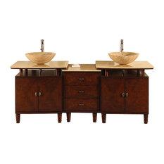 73 in. Lydia Double Sink Bathroom Vanity in English Chestnut