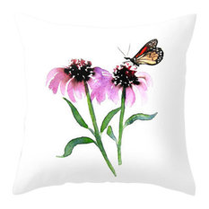 """Decorative Pillow Cover, Monarch Butterfly Floral, 12""""x17"""""""