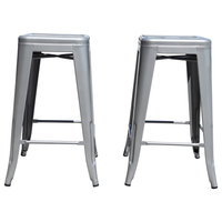 Industrial Metal Stackable Kitchen Dining Bar Stools, Gunmetal Iron, Set of 2