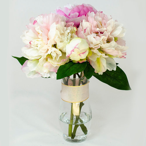 Baby Pink Fuchsia Silk Peony Faux Floral Arrangement For Home Decor Artificial Flower Arrangements