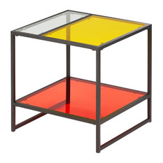 Furniture Of America Tia Contemporary Glass Top End Table In Red And Yellow