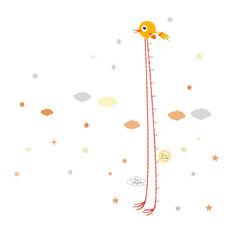 Bird Vinyl Child's Growth Chart, Orange, 30x150 cm
