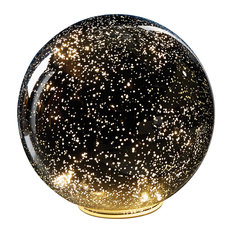 Lighted Silver Mercury Glass Ball Sphere - Large