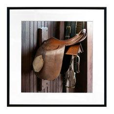 """Horse Harness Saddle"" Photographic Print Framed, 40x40 cm"