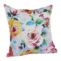 Rosy Red Floral Print Throw Pillow