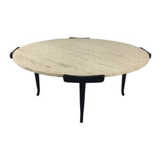 Italian   Italian Travertine And Ebonized Wood Coffee Table   Coffee Tables