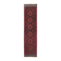 Traditional Rug, Red, 2'x9', Mashwani, Handmade Wool