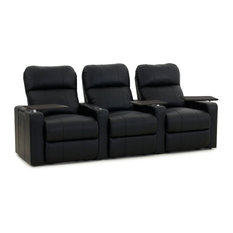 Octane Seating - Octane Turbo XL700 Row of 3 Straight, Manual Recline, Black Bonded Leather - Theater Seating