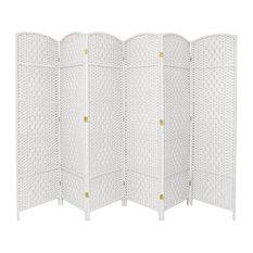 7' Tall Diamond Weave Room Divider, White, 6 Panels