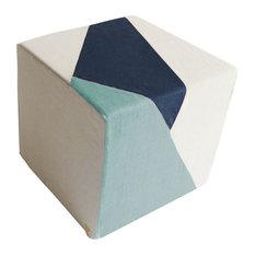 Geometric Prism Floor Pouf, Ice Blue, Navy Blue